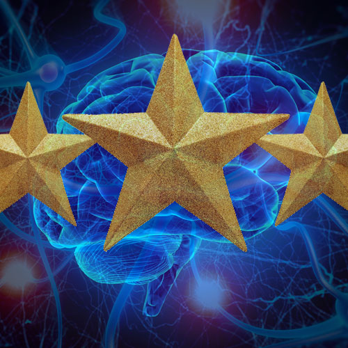 This is a collage of brain synapses, a brain and a gold star.